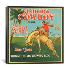 Florida Cowboy Oranges and Grapefruit Vintage Crate Label Canvas Wall Art