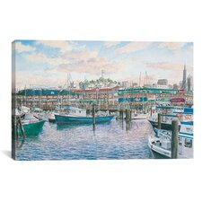 'Fisherman'S Wharf Sunset'  by Stanton Manolakas Painting Print on Canvas