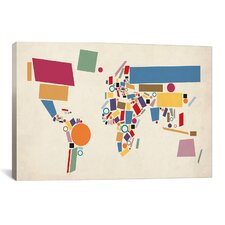 'Geometric World Map Abstract' by Michael Thompsett Graphic Art on Canvas