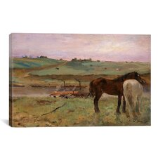 Horses in a Meadow 1871 by Edgar Degas Painting Print on Canvas