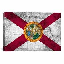 Florida Flag, Grudge Vintage Map Graphic Art on Canvas
