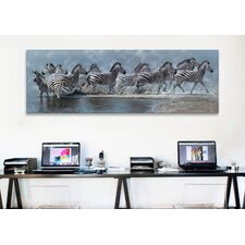 'Flight of the Zebras' by Pip McFarry Photographic Print on Canvas