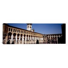 Panoramic People Walking in Umayyad Mosque, Damascus, Syria Photographic Print on Canvas