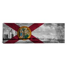 Florida Flag, South Beach, Grunge Vintage Map Panoramic Graphic Art on Canvas