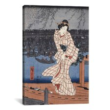 'Evening on the Sumida River' by Utagawa Hiroshige Painting Print on Canvas