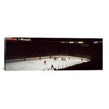 Panoramic 'Group of People Playing Ice Hockey in Chicago, Illinois' Photographic Print on Canvas