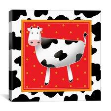 """""""Happy Black and White Cow"""" Canvas Wall Art by Antonella Briozzo"""