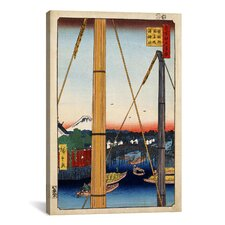 'Inari Bridge and Minato Shrine, Teppozu'  Utagawa Hiroshige l Graphic Art on Canvas