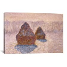 'Haystacks (Effect of Snow and Sun) 1891' by Claude Monet Painting Print on Canvas