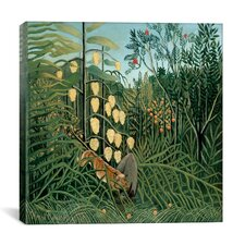 """In a Tropical Forest Struggle between Tiger and Bull"" Canvas Wall Art by Henri Rousseau"