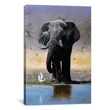 'Elephant, Egret and Carmines' by Pip McFarry Painting Print on Canvas