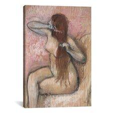 'Femme Nue Assise, Se Coiffant' by Edgar Degas Painting Print on Canvas