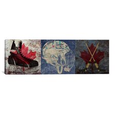 Canada Hockey, Ice Skates, Mask, Sticks 3 Piece Graphic Art on Canvas Set