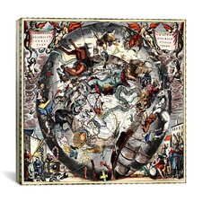 """Harmonia Macrocosmica - The Southern Hemisphere of Both the Starry Vault and the Earth,  Shown Scenographically"" Canvas Wall Art by Andreas Cellarius"