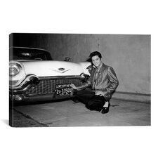 Elvis Presley and a Cadillac, 1950's Photographic Print on Canvas