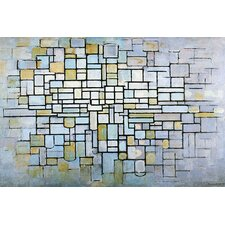 'Composition in Blue, Gray, and Pink' by Piet Mondrian Painting Print on Canvas