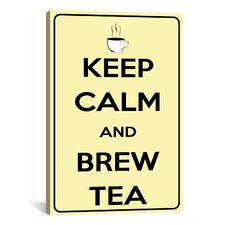 Keep Calm and Brew Tea Textual Art on Canvas