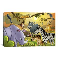 Kids Children Jungle Cartoon Animals Li Canvas Wall Art