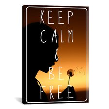 Keep Calm and Be Free Textual Art on Canvas