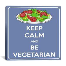 Keep Calm and Be Vegeterian Textual Art on Canvas