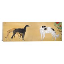 Japanese Art 'Dogs from Europe' by Hashimoto Kansetsu Graphic Art on Canvas