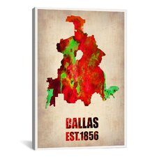 'Dallas Watercolor Map' by Naxart Graphic Art on Canvas