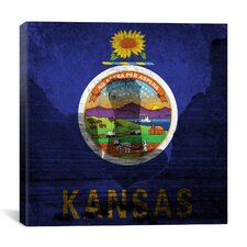Kansas Flag, Monument Rocks Graphic Art on Canvas