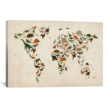 'Dinosaurus Map of the World III' by Michael Tompsett Graphic Art on Canvas