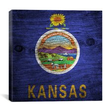 Kansas Flag, Wood Board Graphic Art on Canvas
