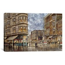 'Dinner Hour, San Francisco, Ellis and Market St' by Stanton Manolakas Painting Print on Canvas