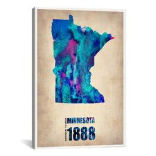 'Minnesota Watercolor Map' by Naxart Graphic Art on Canvas