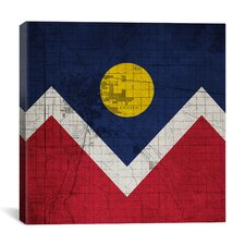 Denver Flag, Map with Canvsas Print Graphic Art on Canvas
