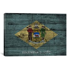 Delaware Flag, Grunge Wood Boards Graphic Art on Canvas