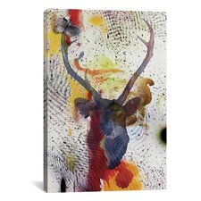 'Deer' by Tetsuya Toshima Painting Print on Canvas