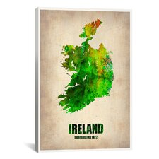 'Ireland Watercolor Map' by Naxart Graphic Art on Canvas
