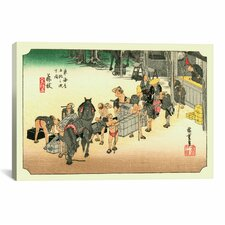 'Fujieda' by Utagawa Hiroshige Painting Print on Canvas