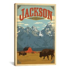 'Jackson, Wyoming' by Anderson Design Group Vintage Advertisement on Canvas