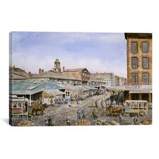 'Fulton Market 1876, New York California' by Stanton Manolakas Painting Print on Canvas