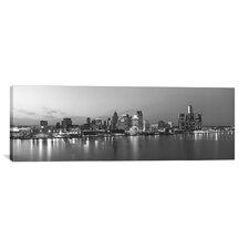 Panoramic 'Detroit Skyline Cityscape (Evening)' Photographic Print on Canvas