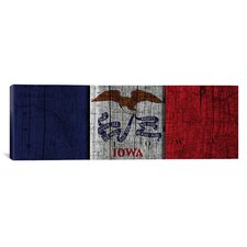 Iowa Flag, Map with Wood Planks Panoramic Graphic Art on Canvas