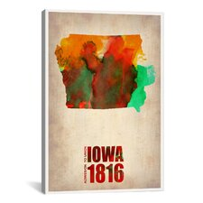 'Iowa Watercolor Map' by Naxart Graphic Art on Canvas