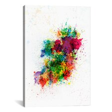 'Ireland Map Paint Splashes' by Michael Tompsett Painting Print on Canvas