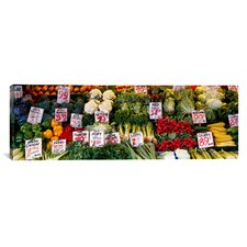 Panoramic 'Close-up of Pike Place Market, Seattle, Washington State' Photographic Print on Canvas