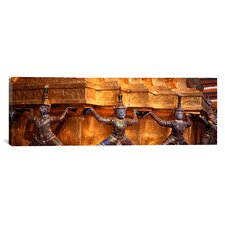 Panoramic Close-up of Statues in a Temple, Grand Palace, Bangkok, Thailand Photographic Print on Canvas
