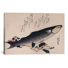 'Grey Mullet and Camellia' by Utagawa Hiroshige Painting Print on Canvas