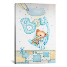 Kids Children It's a Boy with Teddy Bear Painting Print Canvas Wall Art