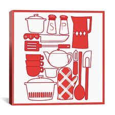 Kitchenware Collage Graphic Art on Canvas