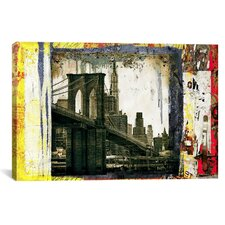 'Pont Brooklyn Pancarte' by Luz Graphics Graphic Art on Canvas