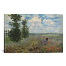 'Poppy Fields Near Argenteuil 1875' by Claude Monet Painting Print on Canvas