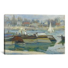 'Peniches a Asnieres 1873' by Claude Monet Painting Print on Canvas